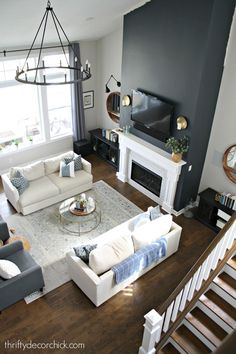 Tall fireplace wall transformation with paint! - Tall fireplace wall transformation with paint! Dramatic fireplace transformation with paint! Blue Accent Walls, Accent Walls In Living Room, Living Room Grey, Home Living Room, Living Room Decor, Dark Gray Walls, White Walls, Fireplace Accent Walls, White Fireplace