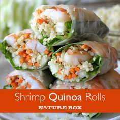 Roasted Shrimp Quinoa Spring Rolls - Quinoa is a wonderful protein-packed substitute for rice noodles in these easy spring rolls! These spring rolls is one of my favorite ways to sneak in quinoa! Shrimp And Quinoa, Roasted Shrimp, Roasted Chicken, Seafood Dishes, Seafood Recipes, Cooking Recipes, Cooking Pork, Cooking Broccoli, Healthy Snacks