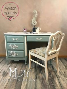 French Provincial Mixed Media Desk With Stained ARtwork