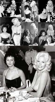 You've probably all seen the iconic photo of Sophia Loren and Jayne Mansfield, but here are some more pics from the same occasion that you might not have seen Old Hollywood Stars, Golden Age Of Hollywood, Hollywood Glamour, Hollywood Actresses, Classic Hollywood, Actors & Actresses, Sophia Loren, Carlo Ponti, Jayne Mansfield