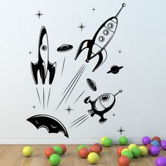 Black Space Plane Removable Wall Stickers Decals for Kids Small Bedrooms Design Ideas