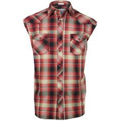Cody James Men's Plaid Sleeveless Western Shirt (25 CAD) ❤ liked on Polyvore featuring men's fashion, men's clothing, men's shirts, men's casual shirts, mens sleeveless shirts, mens sleeveless plaid shirt, mens plaid shirts, mens plaid western shirts and mens western shirts