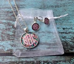 Monogrammed Necklace and Earrings Set by PoshPrincessBows1 on Etsy