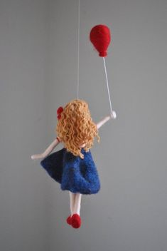 Girls Room Decoration Needle Felted wall hanging doll : Girl with red balloon Girls Room Decoration Needle Felted wall hanging doll : Girl Red Balloon, Balloons, 50 Diy Christmas Decorations, Felt Wall Hanging, Wool Dolls, Needle Felting Tutorials, Felt Fairy, Clothespin Dolls, Fairy Dolls
