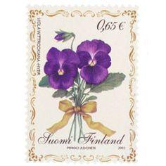 Postimerkki: Orvokki | Suomen postimerkit Finland, Stamps, Presents, Paper, Plants, Postage Stamps, Flowers, Seals, Gifts