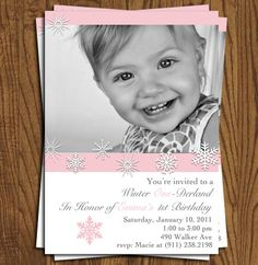 If i ever have a child born in winter...Winter Onederland Birthday Invitation by olivepresspaper on Etsy, $12.50