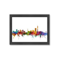 For urban appeal and an eye-catching finish, look no further than this Americanflat ''Johannesburg Skyline II'' wall art by Michael Tompsett. Frames On Wall, Framed Wall Art, Johannesburg Skyline, Painting Inspiration, San Francisco Skyline, Watercolor, Design, Pen And Wash, Watercolor Painting