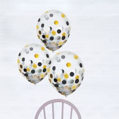 Black, Gold & Silver Confetti Balloons are a great way to decorate and liven up a boring party venue! Fill these latex balloons with helium and shake to wake the black, gold, and silver confetti. Birthday Supplies, Party Supplies, Birthday Ideas, Clear Balloons With Confetti, Winter Party Themes, New Years Eve Decorations, Graduation Decorations, Fun Party Games, Balloon Delivery