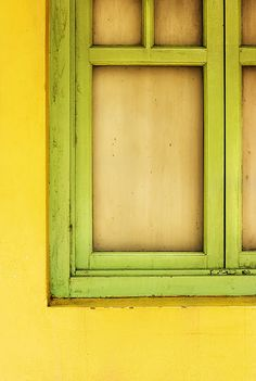 Lime window, yellow wall.