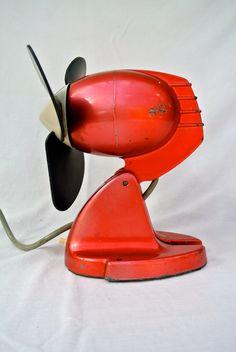 Stwff on Etsy Antique Fans, Vintage Fans, Retro Vintage, Industrial Fan, Vintage Industrial, Red Desk, Antique Shelves, Retro Fan, I See Red