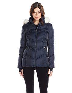 Nautica Women's Short Puffer Coat with Faux Fur Trim Hood...