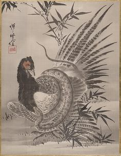 Kawanabe Kyōsai | Pheasant Caught by a Snake, Meiji period (1868–1912)