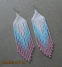 Longues boucles d'oreilles de style indien perles style par Olisava