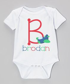Another great find on #zulily! White & Red Airplane Personalized Bodysuit - Infant by Initial Request #zulilyfinds