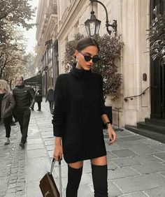 black turtleneck sweater dress with over the knee boots. Visit Daily Dress Me at. - - - black turtleneck sweater dress with over the knee boots. Visit Daily Dress Me at… – , Source by michellenobody Mode Outfits, Dress Outfits, Fashion Outfits, Sweater Dresses, Woman Outfits, Dress Fashion, Paris Outfits, Sweater Dress Outfit, Fashion Ideas