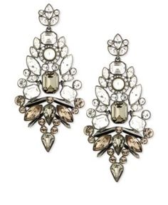 Givenchy Earrings, Hematite-Tone Glass Stone Chandelier Earrings