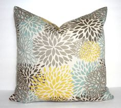 NEW Blooms Blue Grey Yellow Floral Pillow Cover Decorative Flower Print Pillow Cover Choose Size