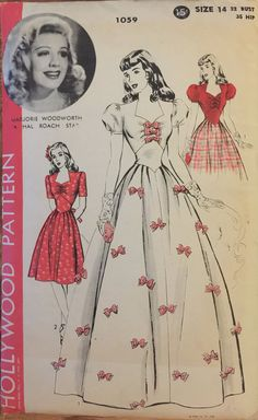 VTG 1059 Hollywood Pattern 1943 one piece by ThePatternParlor