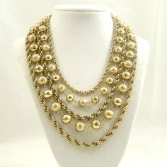 Vintage 1960s Necklace Multi Strand Chains Balls Heavy by Revvie1, $32.00