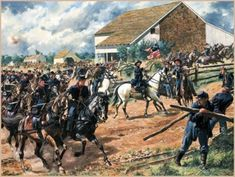 July Confederate General Henry Heth pushed his division down the Chambersburg Pike and encountered Union cavalry by McPherson's farm in Gettysburg, Pennsylvania. Military Art, Military History, American Civil War, American History, American Soldiers, Toy Soldiers, Gettysburg National Military Park, Gettysburg Battlefield, Civil War Art