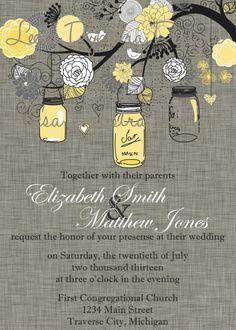Mason Jar Wedding Invitation Printable 5x7 by LeesaDykstraDesigns, $14.00