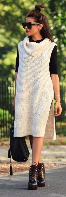 Sazan White Long Sweater Dress Fall Inspo
