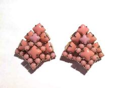 VINTAGE pink ROUND SQUARE Emerald large MOONSTONE Juliana D CLIP earrings