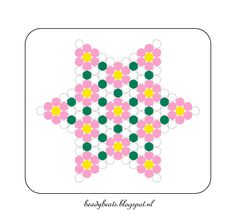Beady Beads - Star 1c. Perler / Hama / Fusion / Melty / Pyssla Beads. Free Pattern Card! Visit my blog for more free patterns.