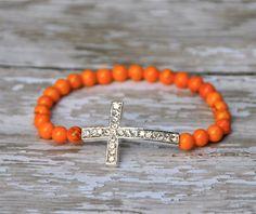 Pave sideways cross bracelet