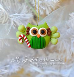 Handcrafted Polymer Clay Christmas Owl Ornament by MyJoyfulMoments
