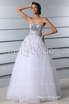 Dazzling Beading Sweetheart White Tulle Prom Gown - Fannybrides.com A Line Long Dress, Discount Prom Dresses, Formal Dresses, Wedding Dresses, Reception Dresses, Wedding Reception, Dress P, Bridal Gowns, One Shoulder Wedding Dress