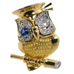 CARTIER, London whimsical diamond, sapphire and gold owl brooch - 1stdibs