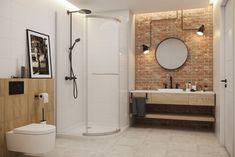 Bright spacious loft-style bathroom with bricks and wood in the main roles Bathroom Styling, Bathroom Wall Tile, Small Bathroom, Bathroom Colors, House Styles, Framed Bathroom Mirror, Tile Bathroom, Grey Modern Bathrooms, Bathroom