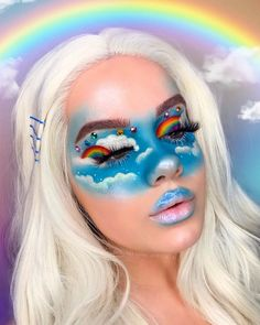 🌈✨ Attempt the rainbow. Whimsical make-up. Costume make-up. Cool Makeup Looks, Crazy Makeup, Cute Makeup, Amazing Makeup, Eye Makeup Art, Colorful Eye Makeup, Sfx Makeup, Makeup Eyeshadow, Hair Makeup