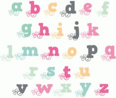 Silhouette Design Store - View Design #66909: fancy swirl monogram alphabet - lower case