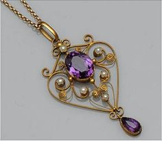 An Edwardian gold amethyst and seed pearl openwork pendant Bonham's, Fine Jewelry Auction, Oxford UK, Oct Art Nouveau Jewelry, Jewelry Art, Fine Jewelry, Jewelry Design, Gold Jewellery, Edwardian Jewelry, Antique Jewelry, Vintage Jewelry, Antique Rings