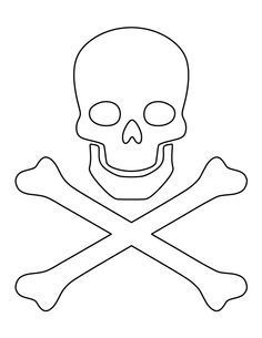 Skull and crossbones pattern. Use the printable outline for crafts, creating stencils, scrapbooking, and more. Free PDF template to download and print at http://patternuniverse.com/download/skull-and-crossbones-pattern/