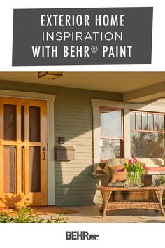Your front porch is the first thing that guests see when they walk up to your home. Make yours count with a new coat of Behr Paint. It's a fun and easy way to upgrade your curb appeal. Click below to discover plenty of exterior paint colors and create your perfect color palette today.