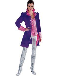 Luxe lange theaterjas voor dames in paarse kleur. De paarse gilet zit vast aan de jas.