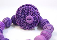Purple brooch  polymer clay jewelry  violet by LifelikeJewelryShop $7.00