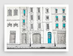 SALE Paris illustration Paris centre Fine art por tubidu en Etsy
