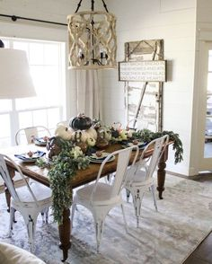 Farmhouse Fall Dining Room Decor   Navy And Copper Pumpkins