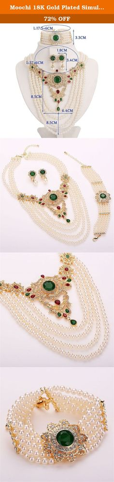 Moochi 18K Gold Plated Simulated Pearl Beads Green Zircon Stone Necklace Jewelry Set. This gold plated simulated pearl beads Zircon Stones jewelry set is shinning and beautiful with artificial crystal embedded. The color will not fade and we have one year warrant. It is the best gift for yourself, your friends and family.