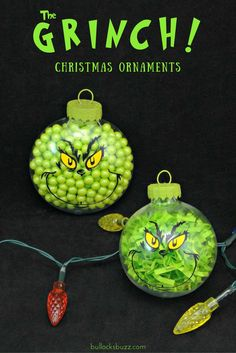 Two DIY Grinch Christmas Ornaments An Easy Tutorial is part of Christmas crafts Ornaments - Remind friends and family of the true meaning of Christmas with these two adorable DIY Grinch Christmas ornaments! Learn to make them with my easy tutorial! Grinch Christmas Decorations, Grinch Ornaments, Grinch Christmas Party, Christmas Ornament Crafts, Noel Christmas, Christmas Crafts For Kids, Homemade Christmas, Christmas Projects, Grinch Party