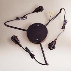 Black 3-Arm Electrical Ceiling Hardwire Kit | World Market