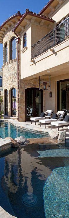 Luxury home pool. ▇ #Home #Design #Decor via - Christina Khandan on IrvineHomeBlog - Irvine, California ༺ ℭƘ ༻