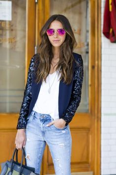 sequin blazer sleeve