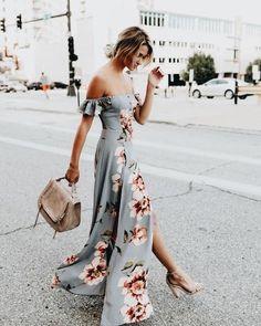 Pretty off the shoulder gray floral print maxi dress.