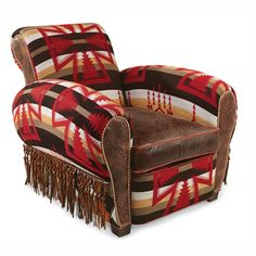 Rustic furniture with Pendlton shawL and leather upholstery on a Euro club chair ,works for lodge, camp, cottage, ranch and yes even loft styles Southwestern Home Decor, Southwestern Decorating, Southwest Style, Western Furniture, Rustic Furniture, Home Furniture, Rustic Chair, Rustic Decor, Patterned Chair