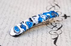 Extra Large Barrette  White and Blue Hair Clip  by yarnNclay